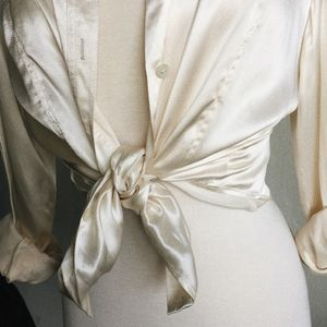 Tops - Cream Silk Button Down